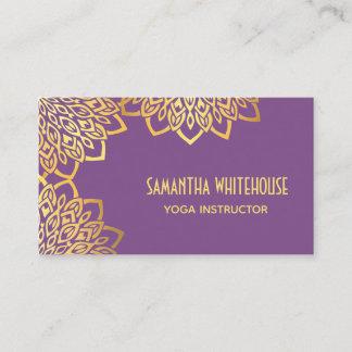 Purple Elegant Gold Mandala Yoga Business Card