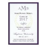 Purple Elegant Monogram Graduation Announcement
