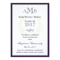 Purple Elegant Monogram Graduation Announcement