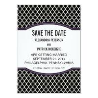 Purple Elegant Quatrefoil Save the Date Invite (<em>$2.16</em>)