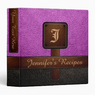 Purple Elegant Recipe Leather Look Binder