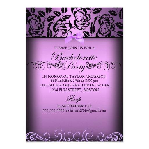 Purple Elegant Rose Bachelorette Party Invite