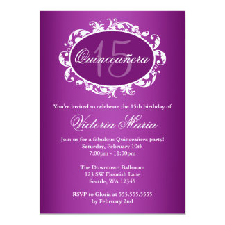 Purple Elegant Swirl Quinceanera Birthday Party 5x7 Paper Invitation Card