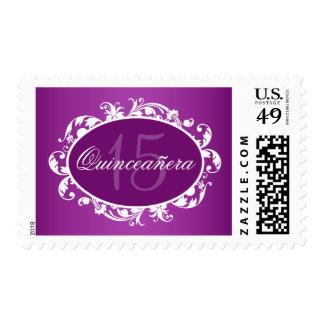 Purple Elegant Swirl Quinceanera Birthday Party Postage Stamp