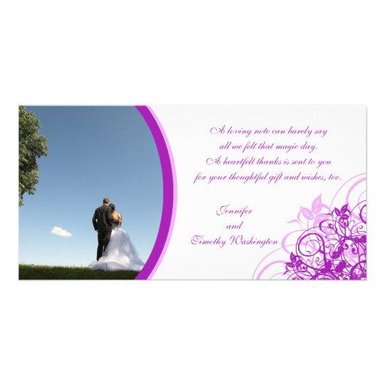 Purple elegant swirls wedding thank you photocard card