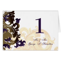 purple Elegant table seating card