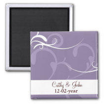 Purple Elegant Wedding Cards Magnet
