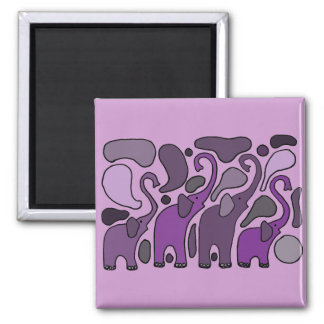 Purple Elephant Art Abstract Magnet