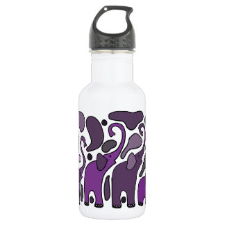 Purple Elephant Art Abstract Water Bottle