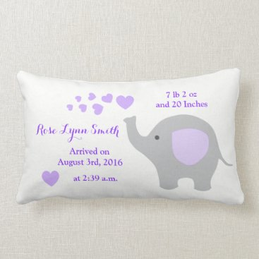 Purple Elephant Baby Birth Stats Announcement Girl Lumbar Pillow