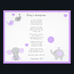 "Purple Elephant Baby Girl Handprints Wall Art<br><div class=""desc"">Purple and grey elephant baby&#39;s first handprints wall art print. This print can be made smaller or larger to fit your need. You can keep the purple edged border or remove it. Personalize this print by adding baby&#39;s name in place of &quot;Baby&#39;s&quot; and adding the date at the bottom. This...</div>"