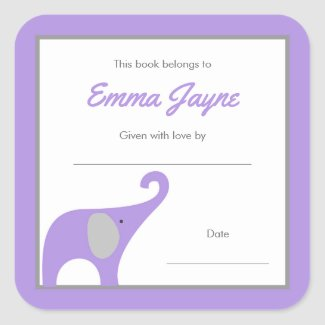 Purple Elephant Baby Shower Book Library