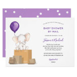 Purple Elephant Baby Shower by Mail invitation