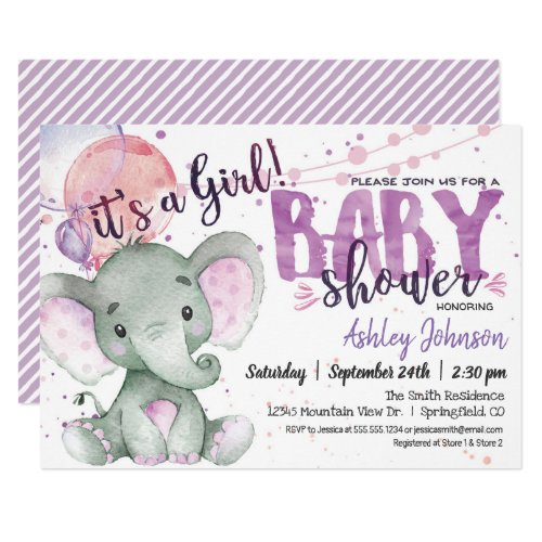 Purple Elephant Baby Shower girl invitation