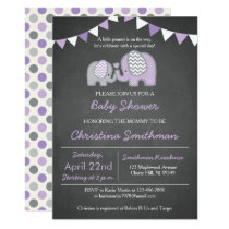 Purple Elephant Baby Shower Invitation