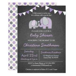 Purple Elephant Baby Shower Invitation
