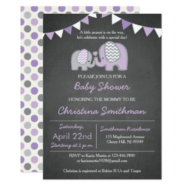 Toddler & Baby themed Purple Elephant Baby Shower Invitation