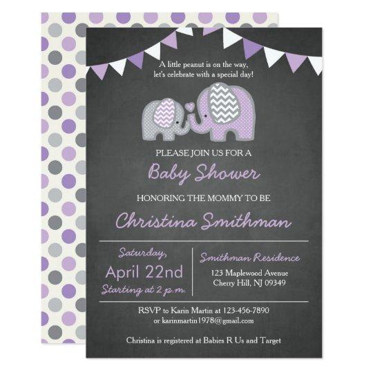Purple Elephant Baby Shower Invitation Zazzle
