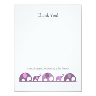 Purple Elephant Baby Shower Thank You Notes