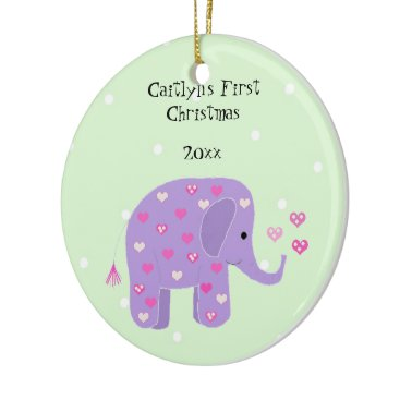 Christmas Themed Purple Elephant Baby's First Christmas Ceramic Ornament