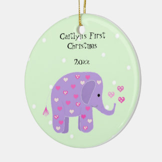 Purple Elephant Baby's First Christmas Ornament