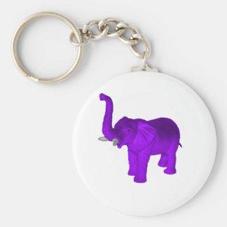 Purple Elephant Basic Round Button Keychain