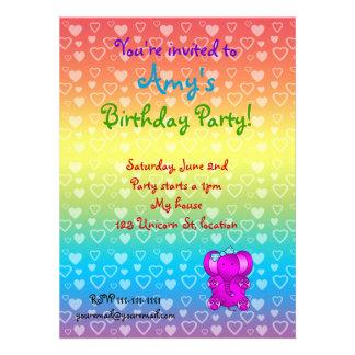 Purple elephant birthday invitations
