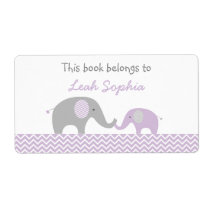 Purple Elephant Bookplate