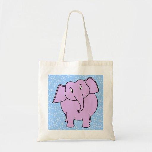 Purple Elephant Cartoon. Blue Floral Background. Canvas Bags