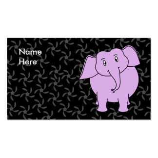 Purple Elephant Cartoon. Blue Floral Background. Business Card