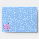 Purple Elephant Cartoon. Blue Floral Background. Envelopes