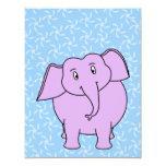 Purple Elephant Cartoon. Blue Floral Background. Invites