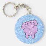 Purple Elephant Cartoon. Blue Floral Background. Key Chains