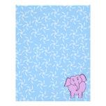 Purple Elephant Cartoon. Blue Floral Background. Custom Letterhead