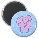Purple Elephant Cartoon. Blue Floral Background. Fridge Magnets