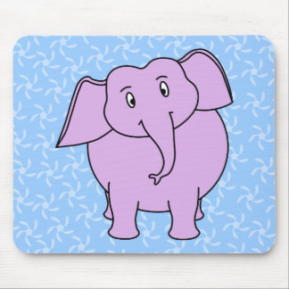 Purple Elephant Cartoon. Blue Floral Background. Mouse Pad