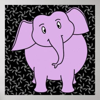 Purple Elephant Cartoon. Blue Floral Background. Poster