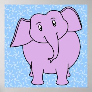 Purple Elephant Cartoon. Blue Floral Background. Posters