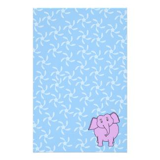 Purple Elephant Cartoon. Blue Floral Background. Stationery
