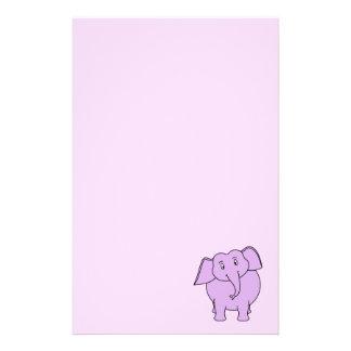 Purple Elephant. Cartoon Custom Stationery
