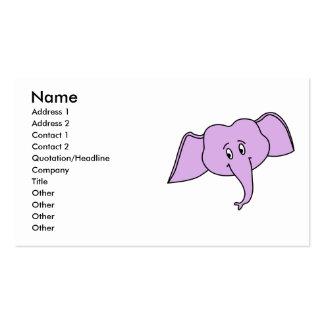 Purple Elephant Face. Cartoon. Business Card