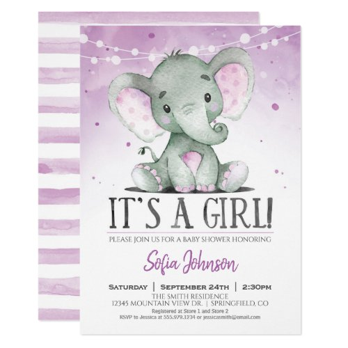 Purple Elephant Girl Baby Shower Invitation