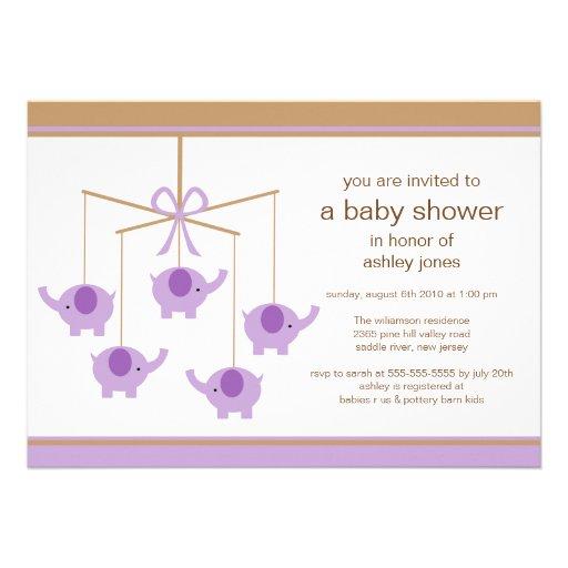 purple elephant mobile baby shower invitation 5 x 7 invitation ca