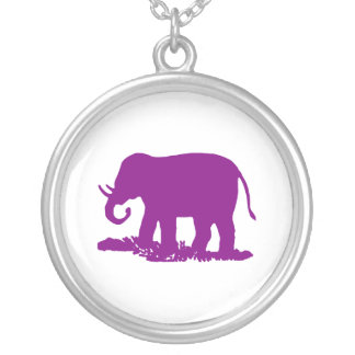 Purple Elephant Round Pendant Necklace