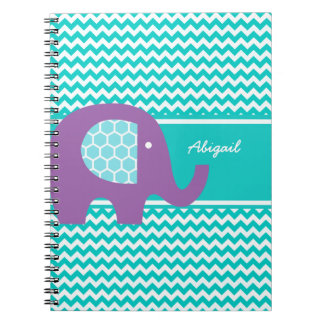 Purple Elephant on Chevron Personalized Notebook