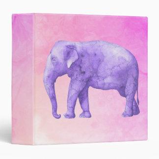 Purple Elephant on Dreamy Pink Watercolors 3 Ring Binder