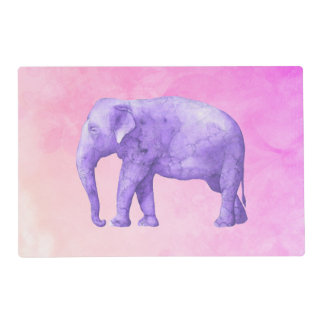 Purple Elephant on Dreamy Pink Watercolors Placemat