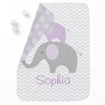 Purple Elephant Swaddle Blanket