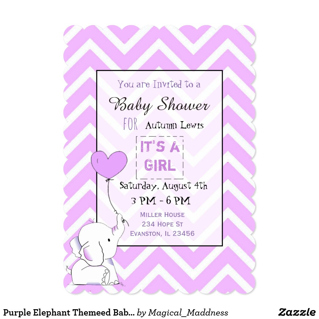 Purple Elephant Themeed Baby Shower Invitations