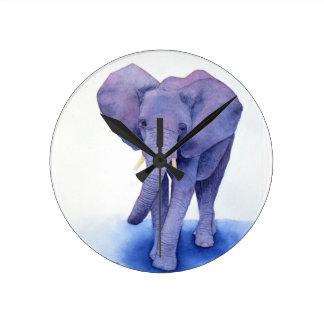 purple elephant watercolor art on multiple items! round clock